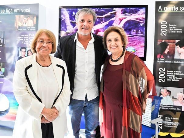 Vida Alves, Marcelo Novaes e Eva Wilma na exposição